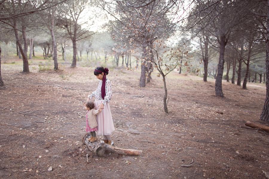 Photographie mère-fille à Cannes en forêt